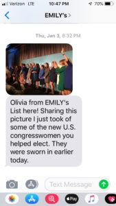 EMILY's List 2019 text message coverage of one of their Class of 2019 Congressional Inauguration events