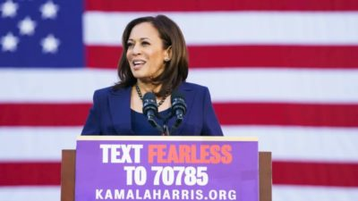 Kamala Harris announcing her bid for President with a Mobile CTA via Keyword at her launch event