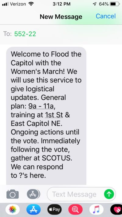 Women's March text opt-in messages to organize for direct action event