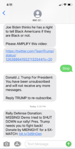 Image of Trump Campaign text message recipient texting STOP, told they were opted out, but then getting another text the next day.