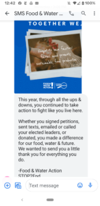 Food and Water Watch including STOP opt-out language in text message